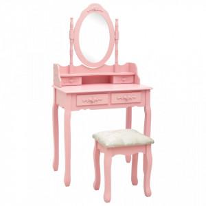 Set masa de toaleta cu taburet roz 75x69x140 cm lemn paulownia - V289315V