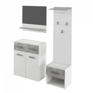 Set mobilă vestibul, alb/beton, SIMA