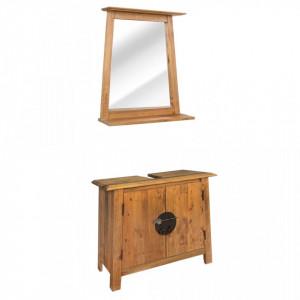 Set mobilier baie din lemn masiv de pin reciclat - V246040V