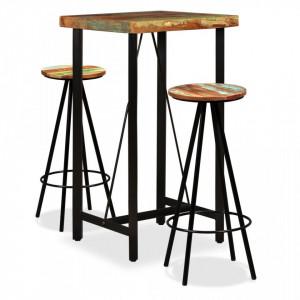 Set mobilier de bar, 3 piese, lemn masiv reciclat - V275140V
