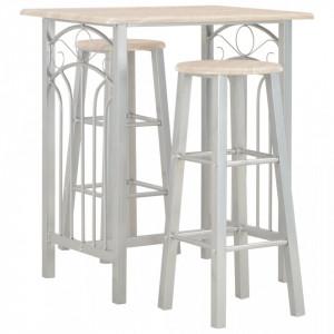 Set mobilier de bar, 3 piese, lemn si otel - V284398V