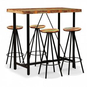 Set mobilier de bar, 5 piese, lemn masiv reciclat - V275143V