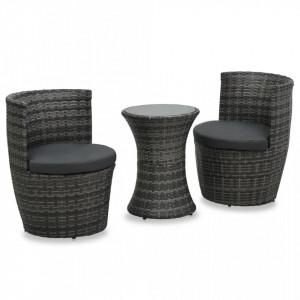Set mobilier de bistro cu perne, 3 piese, gri, poliratan - V48149V