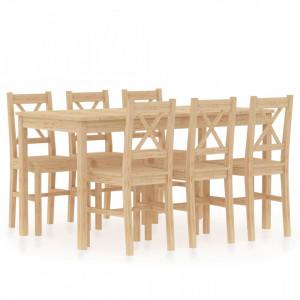 Set mobilier de bucatarie, 7 piese, lemn de pin - V283373V