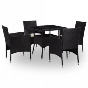 Set mobilier de exterior, 5 piese, negru, poliratan si sticla - V46173V