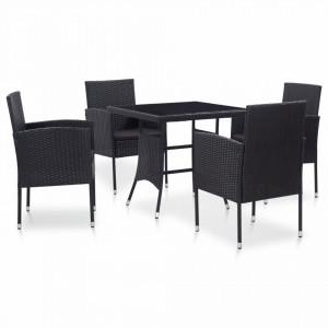 Set mobilier de exterior, 5 piese, negru, poliratan - V46402V