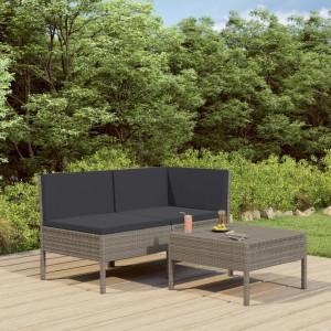 Set mobilier de gradina cu perne, 3 piese, gri, poliratan - V310188V