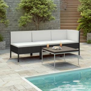 Set mobilier de gradina cu perne, 3 piese, negru, poliratan - V310202V