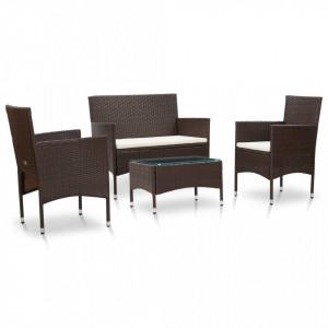 Set mobilier de gradina cu perne, 4 piese, maro, poliratan - V45811V