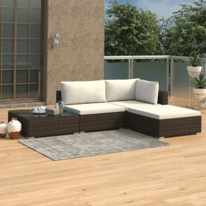 Set mobilier de gradina cu perne, 4 piese, maro, poliratan - V46777V