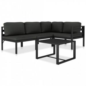 Set mobilier de gradina cu perne, 5 piese, antracit, aluminiu - V49232V