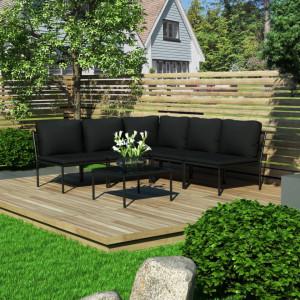 Set mobilier de gradina cu perne, 6 piese, negru, PVC - V48588V