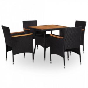 Set mobilier gradina, 5 piese, negru, poliratan si lemn acacia - V310044V