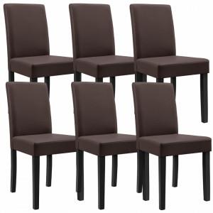 Set Victoria 6 scaune bucatarie,90 x 42 cm, tapitat, piele sintetica, forma trapezoidala sezut, maro - P46249523