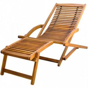 Sezlong cu suport pentru picioare din lemn de acacia - V41806V