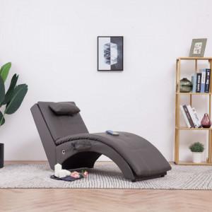 Sezlong de masaj cu perna, gri, piele artificiala - V281348V