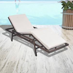 Sezlong de plaja cu perna, maro, poliratan - V43107V