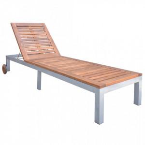 Sezlong, lemn masiv de acacia - V44611V