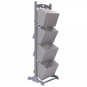 Suport cos depozitare 4 niveluri gri inchis 35x35x125 cm lemn - V284263V