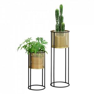 Suport plante 2 bucati ABMM-2161, metal, negru/auriu, masuri diferite - P72332347