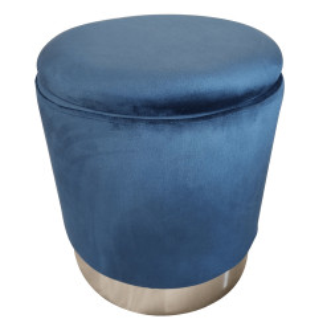 Taburet, catifea albastru Velvet/crom argintiu, DARON