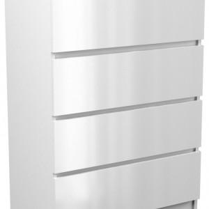 TECOA108 - Comoda 70 x 40 x 97 cm, Alb-Lucios