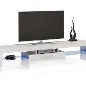 TECOTVA104 - Comoda TV 160 x 40 x 45 cm, Alb-Lucios