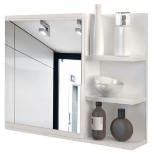 TEOB3 - Oglinda 60 cm, cu 3 rafturi si 1 dulap pentru baie - Alb Mat