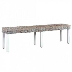 Banca, alb, 160 cm, ratan kubu natural si lemn masiv de mango - V285792V