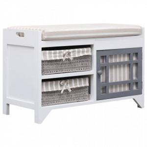 Banca de hol, alb, 70x33,5x45 cm, lemn de paulownia - V284080V