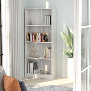 Biblioteca cu 4 rafturi, alb extralucios, 60 x 24 x 142 cm, PAL - V800879V