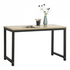 Birou Herning, 75 x 120 x 60 cm, otel sinterizat/ PAL melaminat, negru/culoarea stejarului, inaltime reglabila - P65862414