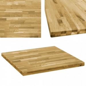 Blat de masa, lemn masiv de stejar, patrat, 44 mm, 80x80 cm - V245999V