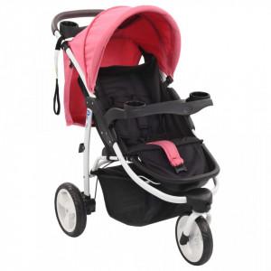 Carucior cu 3 roti pentru copii, roz si negru - V10181V