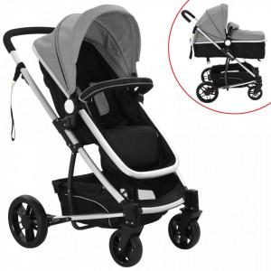Carucior/landou pentru copii 2-in-1, gri si negru, aluminiu - V10107V