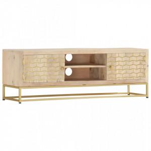 Comoda TV, auriu,120 x 30 x 40 cm, lemn masiv de mango - V286499V