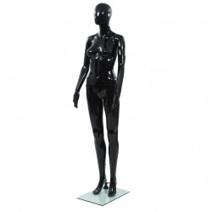 Corp manechin feminin, suport din sticla, Negru lucios 175 cm - V142929V