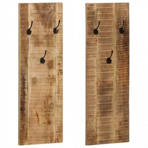 Cuier haine de perete, 2 buc., lemn masiv de mango 36x110x3 cm - V246025V