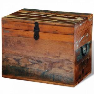 Cutie de depozitare din lemn masiv reciclat - V241644V