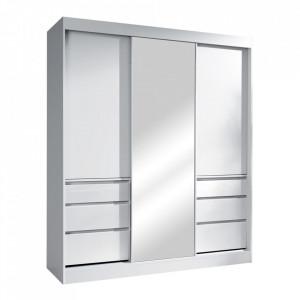 Dulap cu uşi glisante, alb, 180, ROMUALDA