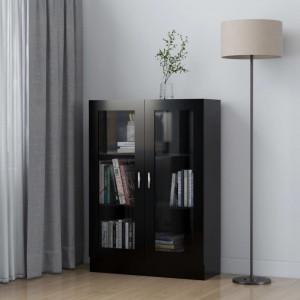 Dulap cu vitrina, negru, 82,5 x 30,5 x 115 cm, PAL - V802751V