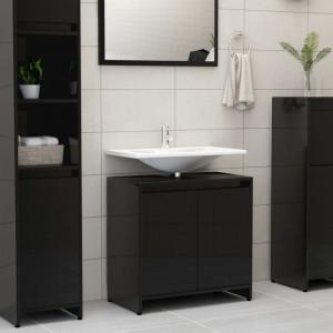 Dulap de baie, negru extralucios, 60 x 33 x 58 cm, PAL - V802649V