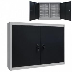 Dulap de perete pentru unelte gri & negru metal stil industrial - V145365V