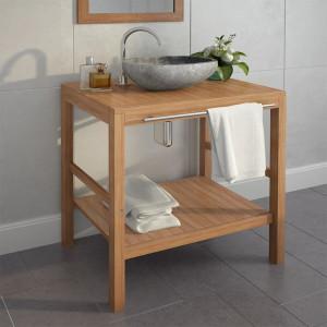 Dulap de toaleta, lemn masiv de tec, chiuveta din piatra de rau - V246496V