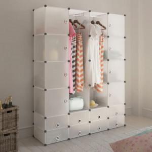 Dulap modular cu 18 compartimente alb 37 x 146 x 180,5 cm - V240502V
