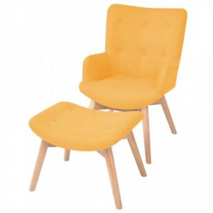 Fotoliu cu taburet, galben, material textil - V244664V