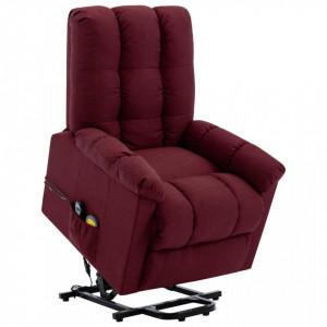 Fotoliu de masaj cu ridicare verticala, rosu vin, textil - V321393V