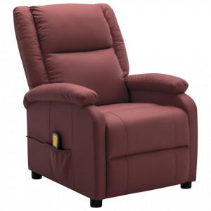 Fotoliu de masaj rabatabil, rosu vin, piele ecologica - V322433V