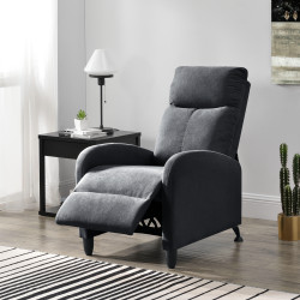 Fotoliu Relax Textil Gri inchis, 102 x 60 cm, poliester, gri inchis, cu spatar reglabil - P68050991