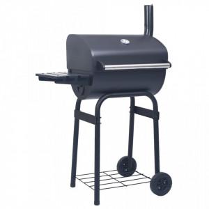 Gratar barbecue cu carbuni, afumatoare si raft inferior, negru - V46649V